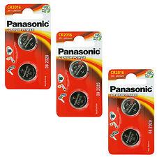 6 x Panasonic CR2016 3V Lithium Coin Cell Battery 2016