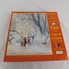 D.R. Laird The Magic Of Winter 550 Piece Puzzle 2009 Kids Dragon Dog Snow King