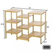 Bamboo Storage Shelf Rack Plant Display Stand 9-Tier Rack Unit 945
