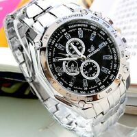 Luxury Quartz Analog Date Waterproof Men's Business Stainless Steel Wrist Watch~