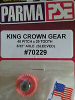 "Parma 70229 King Crown Gear 29 Tooth 48 Pitch - Sleeved For 3/32"" Axle - Qty. 1"