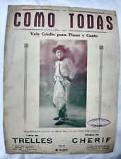 Carlos Gardel Cover Como Todas Original Tango Sheet Music Argentina 1930s