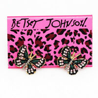 Betsey Johnson Enamel Crystal Cute Butterfly Charm Ear Stud Women's Earrings