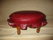 VTG LEATHER PADDED FOOTSTOOL BURGUNDY WITH WOOD LEGS