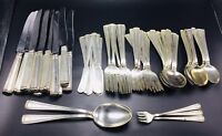 Cartier Antique Sterling Silver Embassy Scroll 67 Piece Service 8+ Flatware Set
