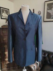 NWT Kiton Women's Blue Blazer 100% Silk IT48 UK 16 XXL Handmade in Italy