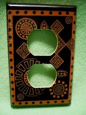 Vintage colorful Gold Black and Green designs wrapped paper outlet cover.