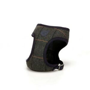 Hugo & Hudson Grey Checked Tweed Dog Harness