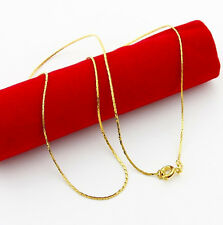 Thin 24K Gold Plated 0.5MM Snake Skin Chain Men Women Necklace 18inch GJP092