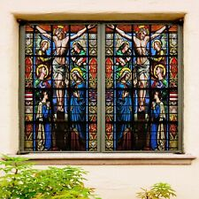 3D Cross Torture I569 Window Film Print Sticker Cling Stained Glass UV Block Amy