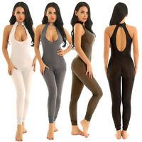 Damen Neckholder Ganzkörper Body Transparent Catsuit Overall Unterwäsche Dessous