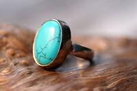 ausgefallener Ring 925er Sterling Silber mit großem Türkis Unikat Silberschmiede
