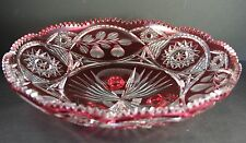 "14"" Ruby Red Cut to Clear Crystal BOWL Large"