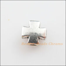 10pcs Tibetan silver tone cross shaped spacer beads H0138