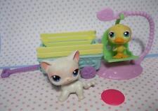 Littlest Pet Shop #243-247 Springtime Basket White Cat Duck Wagon Swing Playset