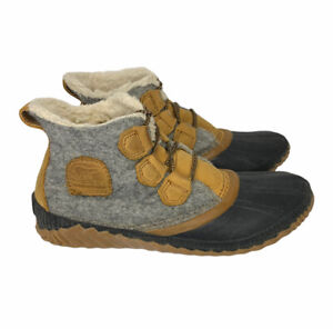 Sorel Women's 7.5 Out N About Fleece & Leather Winter Duck Ankle Boot NL3150-052