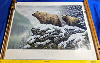 NRA Golden Eagles Land of the GRizzly Print Picture Poster Art Bear Gun Ad VTG
