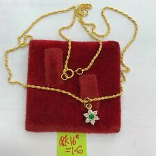 Gold Authentic 18k saudi gold necklace flower pendant with russian stone,
