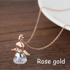 Fashion Charm Guardian Angel Crystal Pendant Silver Plated Chain Necklace 1pc Rose Gold