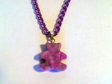 Handcrafted Purple Jade Gemstone Bear Pendant Matching Purple Chain Necklace