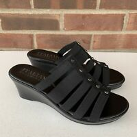 Italian shoemakers black slide wedge sandals Women's Size US 8 m