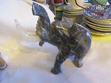 STONE ART Elephant Trunk Up Carving or Sculpture black/grey broken trunk BRD