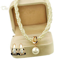 OFF-WHITE CREAM PEARL & GOLD BRIDAL JEWELLERY SET WEDDING NECKLACE EARRINGS