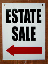 ESTATE SALE with ARROW POINTING TO THE LEFT 18x24 Coroplast Sign w/Grommets