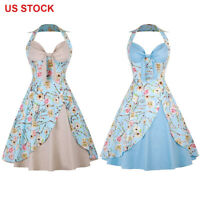 Women's Halter Floral 50s Vintage Rockabilly Swing Housewife Party Evening Dress