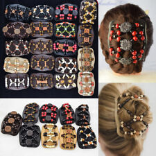 Vintage Butterfly Wood Beads Double Hair Comb Clip Stretchy Women Hair Accessori