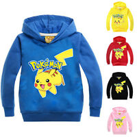 Kids Boy Girl Pokemon Pikachu Hoodie Sweatshirt Long Sleeve Hooded Pullover Tops