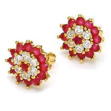 Beautiful NEW 4.5 Carat Ruby & White Sapphire 14 K Gold Filled Stud Earrings~MIB