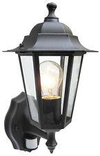 External Security PIR Sensor Wall Coach Lantern or LED Energy Saving Light Bulb 6 Sided Black