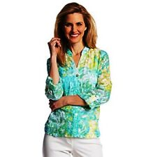 Ruby Rd. Women's Size 12P Multicolor Button Down Roll Tab Sleeve Sheer Blouse