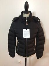 NWT Women's MONCLER Oiron Leather Shoulder-Inset Short Down Jacket Size 2, Black