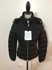 NWT Women's MONCLER Oiron Leather Shoulder-Inset Short Down Jacket Size 2, Black