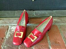 Classic Franco Vintage Red Leather Slip On Shoes Eu/39 Us/8/8.5 Made In Italy