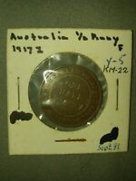 AUSTRALIA, George V: 1917 bronze 1/2 Penny Half Penny; nice brown Fine!