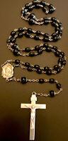 Vintage Catholic Black Glass 5 Decade Rosary Silver Tone Crucifix