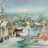 Vintage Mid Century Christmas Greeting Card Glitter Birch Trees Villagers Church