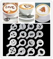 16pcs Chocolate Cake Cappucino Coffee Stencils Milk Mould Tools Ice Cube Mold