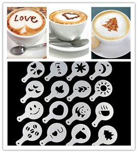 16pcs Chocolate Cake Cappucino Coffee Stencils Milk Mould Tools Ice Cube Mold