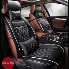 Luxury PU Leather Seat Cover Set Front Back Car Seat Covers Black White Full Set