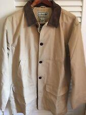 LL BEAN Men's Tan Canvas Barn Coat Field Jacket Flannel Lining Size Large