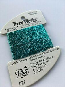 """Rainbow Gallery Fyre Werks F37 Aqua 1/16"""" metallic ribbon 10yd"""