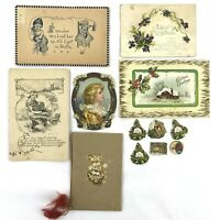 Lot Of Antique Victorian Postcards, Greeting & Christmas Scraps - 12 Pieces