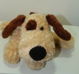 Russ Berrie Droozy Stuffed Animal Beanbag Toy Plush Dog 10 Inch Cream And Brown