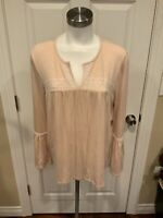 Meadow Rue Anthropologie Nude V-Neck Top W/ Bell Sleeves, Size Large