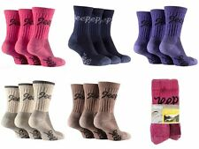 3 pairs  Ladies Jeep Terrain Cushion sole Cotton Hiking Socks 4-7 uk Stone