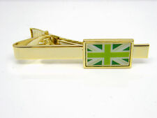 UNION JACK GREEN FLAG TIE CLIP PIN BADGE GOLD TONE MENS GENTS NOVELTY GIFT POUCH